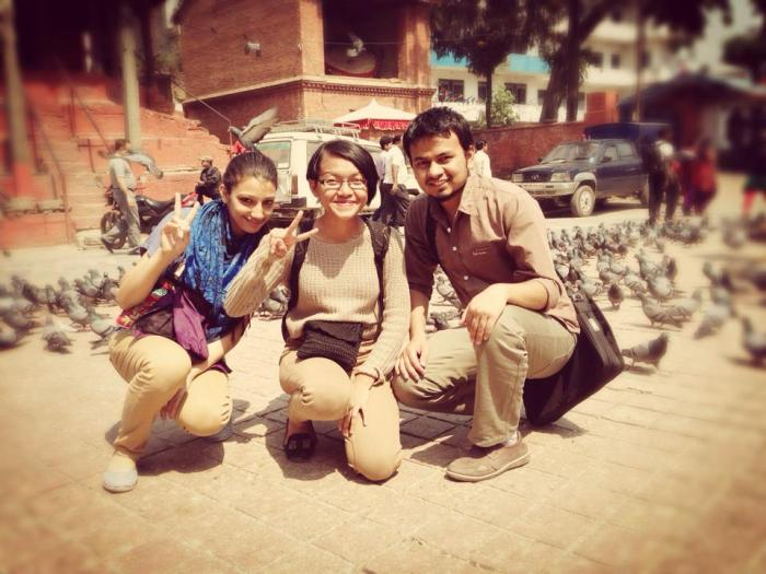 The Indonesian Girl and her two Nepali friends plus hundreds of new bird friends.